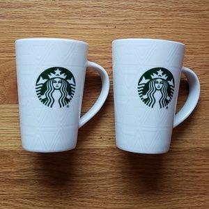 NEW! 2 STARBUCKS Mugs White Limited Edition rare